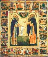 Преподобные Зосима и Савватий Соловецкие, с житием. Икона. Кон. XVI в. (ГРМ)