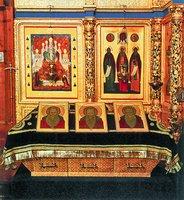 Рака с мощами преподобных Зосимы, Савватия и Германа (Спасо-Преображенский собор). Фотография. 1992 г.
