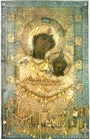Иверская икона Божией Матери. 1-я пол. XI или нач. XII в. Оклад нач. XVI в. (Иверский мон-рь на Афоне)
