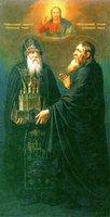 Преподобные Зосима и Савватий Соловецкие. Икона. 1806-1811 гг. Худож. Г. И. Угрюмов (ГМИР)