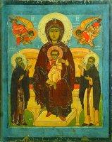 Богоматерь с младенцем на престоле, с предстоящими преподобными Зосимой и Савватием Соловецким. Икона. Посл. треть XVI в. (ВГИАХМЗ)
