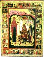 Богородица с молящимися преподобными Зосимой, Савватием и братией мон-ря, с клеймами жития преподобных. Икона. 1545 г. (ГММК)