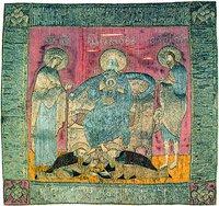 Отечество, с предстоящими Богоматерью и св. Иоанном Предтечей и припадающими преподобными Зосимой и Савватием. Хоругвь. 1562 г. (ГММК)