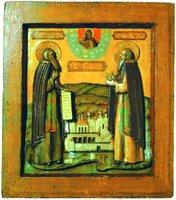 Преподобные Зосима и Савватий Соловецкие. Икона. 2-я пол. XVII в. (ГММК)