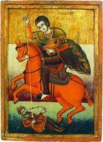 Чудо вмч. Димитрия о царе Калояне. Икона. XVIII в. (НИМ(С))