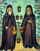 Преподобные Зосима и Савватий Соловецкие. Икона. 2-я пл. XIX в. (ГМИР)