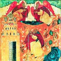 Видение понамарю Дионисию преподобных Зосимы и Савватия в виде огнекрылых ангелов. Клеймо иконы «Преподобные Зосима и Савватий Соловецкие, с житием». 1-я пол. XVII в. (АМИИ)