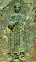 Вмч. Димитрий Солунский. Икона на фасаде кафоликона мон-ря Ксиропотам на Афоне. XII в.