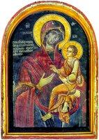 Образ Божией Матери «Скоропослушница». Фреска на внешней стене трапезной мон-ря Дохиар. 1563 г.