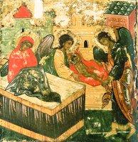 Рождество прор. Илии. Клеймо «Прор. Илия в пустыне, с житием». 1-я треть XVI в. (ВГИАХМЗ)