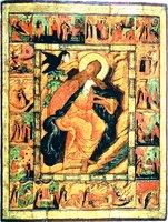 Прор. Илия в пустыне, с житием. Икона. 1682 г. (ЦАК МДА)