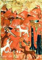 Псы разрывают тело Иезавели. Клеймо иконы «Огненное восхождение прор. Илии, с житием». Кон. XVI - нач. XVII в. (АМИИ)