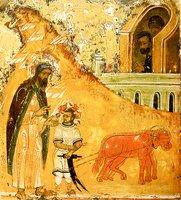 Встреча прор. Илии с Елисеем. Клеймо иконы «Прор. Илия, с житием». 1-я треть XVI в. (ВГИАХМЗ)