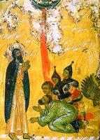 Попаление огнем воинов Охозии. Клеймо иконы «Прор. Илия, с житием». 1-я треть XVI в. (ВГИАХМЗ)