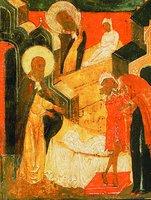 Воскрешение сына сарептской вдовы. Клеймо иконы «Прор. Илия, с житием». 1664 г. (ГМЗРК)