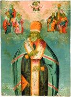 Свт. Иннокентий (Кульчицкий), еп. Иркутский, с избранными святыми. Икона. 1847 г. (частное собрание)