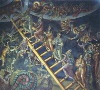Лествица прпю Иоанна Лествичника. Роспись литии ц. арх. Михаила мон-ря Дохиар на Афоне. 1568 г.