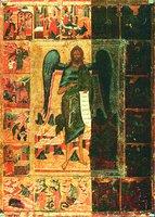 Св. Иоанн Предтеча Ангел пустыни, с житием. Икона. XVI в. (НГХМ)