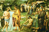 Крещение Господне. Роспись Сикстинской капеллы, Ватикан. Мастера П. Перуджино и Б. Пинтуриккио. Ок. 1482 г