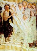 Проповедь св. Иоанна Предтечи. Роспись баптистерия в Кастильне-Олона, Ломбардия. Худож. Мазолино да Паникале. Между 1425 и 1435 гг.