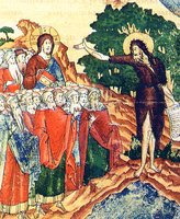 «Стоит среди вас Некто...» Проповедь св. Иоанна Предтечи об Иисусе Христе. Миниатюра из «Слова похвального на Зачатие св. Иоанна Предтечи». Сер. XVI в. (РГБ. Ф. 98 № 1844. Л. 163)