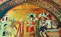 Учекновение главы. Пир Ирода. Погребение св. Иоанна Предтечи. Мозаика баптистерия собора Сан-Марко в Венеции. 1343-1354 гг.