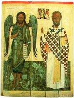 Св. Иоанн Предтеча и свт. Николай Чудотворец. Сешествие во ад. Икона. Посл. треть XVI в. (ВГИАХМЗ)