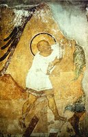 Ангел ведет младенца Иоанна в пустыню. Роспись жертвенника Успенского собора во Владимире. 1408 г.