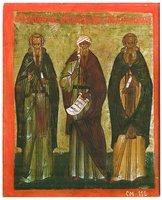 Преподобные Иоанн Лествичник, Иоанн Дамаскин и Арсений Великий. Икона. 2-я пол. XVI в. (ГВСМЗ)