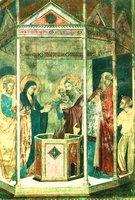 Принечение младенца Иоанна во храм. Роспись капеллы замка Гунди в Поппи, Ареццо, Италия. Нач. XIII в.