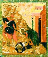 Усекновение главы Иоанна Предтечи, с житием. Средник иконы. 60-70-е гг. XVI в. (ГРМ)