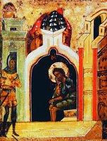 Св. Иоанн Предтеча в темнице. Клеймо иконы «Св. Иоанн Предтеча - Ангел пустыни, с житием в 20 клеймах» Ок. 1551 г. (ЯИАМЗ)