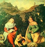 Богоматерь с Младенцем, прав. Елисаветой и св. Иоанном Предтечей. Худож. Дж. Кариани. Между 1528 и 1530 гг. (Национальная галерея современного искусства, Рим)