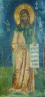 Св. Иоанн Предтеча. Роспись ц. св. Бессребников в Кастории, Греция. Кон. XII в.