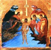 Крещение. Фрагмент иконостаса. Ок. 1200 г. (мон-рь вмц. Екатерины на Синае)