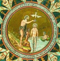 Крещение Господне. Мозаика баптистерия Православных в Равенне. Сер. V в.