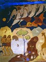Изгнание из рая. Роспись ц. вмч. Иоанна Воина в Мёдоне, Франция. Нач. 30-х гг. XX в. (Б-ка фонд «Русское Зарубежье»)
