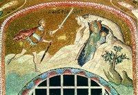 Прав. Елисавета с младенцем Иоанном спасаются от преследования. Мозаика кафоликона мон-ря Хора (Кахрие-джами) в К-поле. 1316-1321 гг.