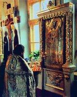 Икона прп. Иосифа Волоцкого (нач. ХХ в.) в ц. в честь Введения во храм Пресв. Богородицы в с. Спирово. Фотография. 1994 г.