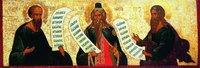 Пророки Елисей, Захария, Иоиль. Икона из Успенского собора Кириллова Белозерского мон-ря. Ок. 1497 г. (ГРМ)