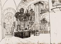 Интерьер Богоявленского собора Братского мон-ря. Рис. К. П. Мазера. 1851 г.