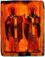 Святители Афанасий и Кирилл Александрийские. Икона. Нач. XIV в. (ГЭ)