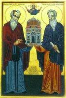 Преподобные Евфимий и Неофит, основатели мон-ря Дохиар. Икона. Кон. XX в.
