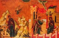 Благовещение. Клейма Владимирской иконы Божией Матери. Кон. XVI в. (ВСМЗ)