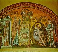 Благовестие праведным Иоакиму и Анне. Мозаика ц. Успение Богородицы в Дафни. Ок. 1100 г.