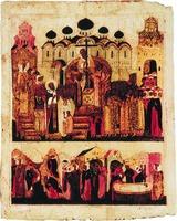 Воздвижение Креста. Икона. Кон. XVI в. Нижний ряд: обретение 3 крестов, внесение их в Иерусалим, опознание Креста Христова возложением на умершую (СПГИХМЗ)