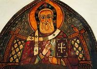 Свт. Афанасий Великий. Фреска собора мон-ря прп. Антония Великого в Египте. XIII в.