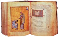 Ап. Иоанн с учеником Прохором. Миниатюра из Четвероевангелия. Кон. X в. Мон-рь Дионисиат (Cod. Dionys. 588. Fol. 225v — 226)