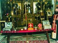 Св. мощи (проскинисис), выставленые для поклонения в мон-ре Каракалл