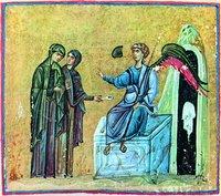 Жены-мироносицы у Гроба Господня. Миниатюра из Евангелия и Апостола. XI в. (Ath. Dionys. 587m. Fol. 113v)